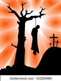 Illustration featuring silhouette of Judas Iscariot hung from a tree with three crosses on background