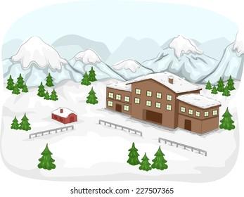 Illustration Featuring a Ski Lodge