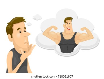 Illustration Featuring a Skinny Young Man Dreaming of Becoming Muscular