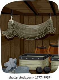 Illustration Featuring the Storage Area of a Pirate Ship