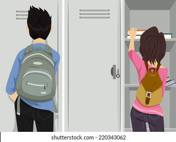 Illustration Featuring Teenage Students Standing in Front of Lockers