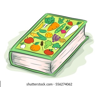 Illustration Featuring a Thick Hardbound Book with Drawings of Different Vegetables and Fruits as Its Cover
