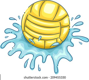 Illustration Featuring a Water Polo Ball with Water Splashing Around