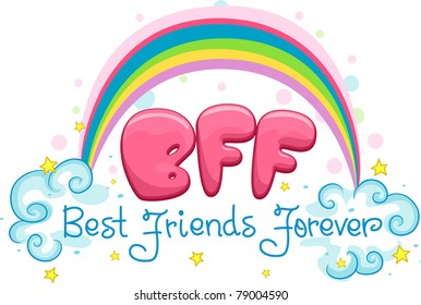 Illustration Featuring the Words Best Friends Forever