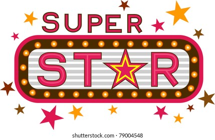 Illustration Featuring the Words Super Star