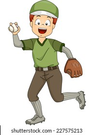 Illustration Featuring a Young Baseball Pitcher