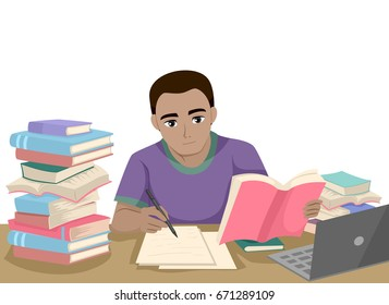 Illustration Featuring a Young Black Teenage Guy Sitting Beside a Pile of Books Reviewing His Notes