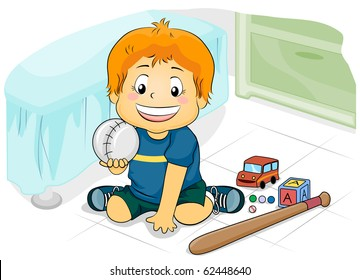 Illustration Featuring a Young Boy Playing with His Toys - Vector