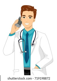 Illustration Featuring a Young Doctor in a Laboratory Coat Talking to Someone on His Phone