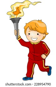 Illustration Featuring a Young Male Torchbearer