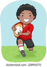 Illustration Featuring a Young Rugby Player Running Across the Field