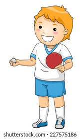 Illustration Featuring a Young Table Tennis Player