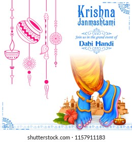 illustration of feet of Lord Krishna in Happy Janmashtami festival background of India