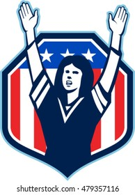 Illustration of a female american football fan with hands raised up viewed from front set inside shield crest with american usa stars and stripes flag in the background done in retro style.