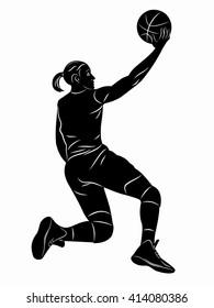illustration female basketball player . black and white sketch, white background