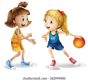 Illustration of the female basketball players on a white background