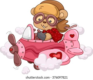 Illustration of a Female Bear Riding a Cute Pink Airplane