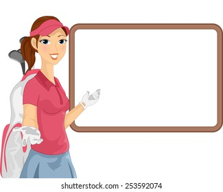Illustration of a Female Caddy Gesturing To a Blank White Board