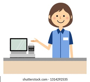 It is an illustration of a female clerk who works at a cashier counter.