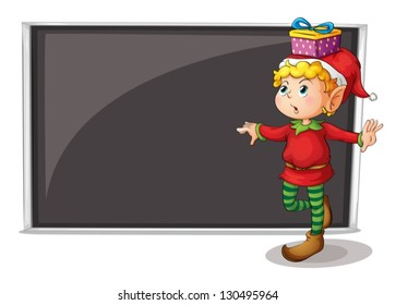 Illustration of a female elf beside an empty gray board on a white background