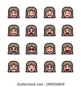 illustration of the female emoticons set icons on the white background