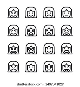 illustration of the female emoticons set icons on the white background