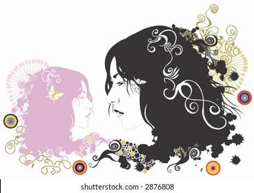 Illustration of female faces