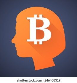 Illustration of a female head silhouette with a bitcoin sign