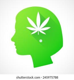 Illustration of a female head silhouette with a marijuana leaf