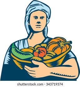 Illustration of a female lady organic farmer carrying basket full of vegetables fruits harvest produce wearing turban bandana viewed front on isolated white background done in retro woodcut style.