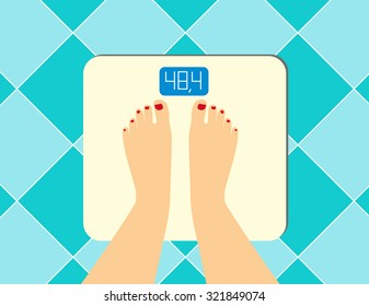illustration of female legs on the floor scales. Vector weight watcher. The problem of excess weight, the concept of a healthy lifestyle