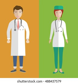Illustration of a female and male asian doctors. Flat vector illustration.