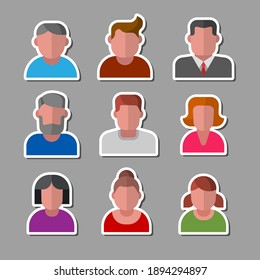 illustration of the female and male avatars set color icons on the white background