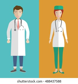 Illustration of a female and male doctors. Flat vector illustration.