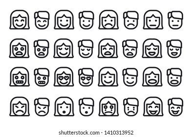illustration of the female and male emoticons set icons on the white background