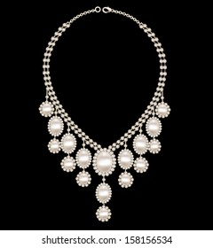 illustration female necklace wedding with pearls on a black background
