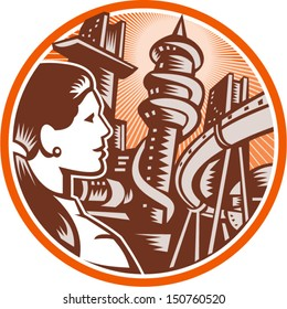 Illustration of a female office worker businesswoman viewed from side looking out to futuristic city with hi-rise buildings and bridge done in retro woodcut style set inside circle.