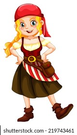 Illustration of a female pirate