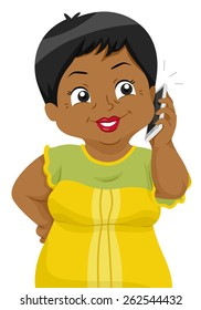 Illustration of a Female Senior Citizen Talking on the Phone