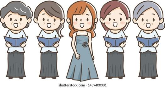 Illustration of female singer doing choir