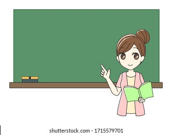 Illustration of a female teacher with a blackboard