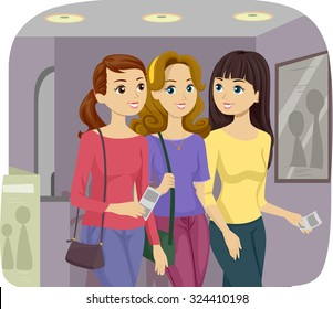 Illustration of Female Teenage Friends Going on a Movie Together
