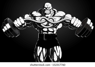 Illustration: a ferocious bodybuilder with a barbell