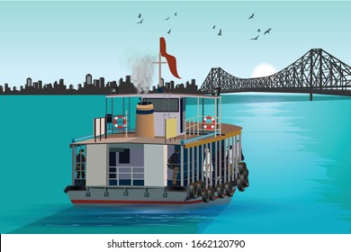illustration of Ferry ride in the morning toward the British-era Howrah Bridge across Hooghly River. Heritage and famous historical landmarks.