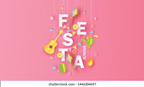 Illustration of Festa Junina festival design with elements and paper calligraphy FESTA JUNINA. Graphic design for Festa Junina festival. paper cut and craft style. vector,illustration.