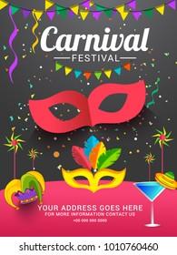 Illustration For Festival Of Carnival Party Poster Or Banner Background.