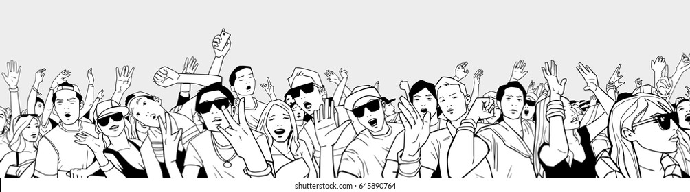 Illustration of festival crowd having fun at concert in panorama view with high detail