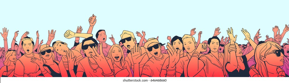 Illustration of festival crowd having fun at concert in panorama view with high detail and color