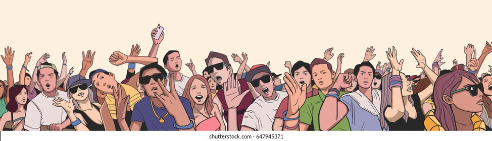 Illustration of festival crowd having fun at concert in panorama view with detail