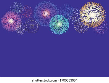Illustration of festival with fireworks